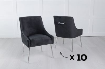 Set of 10 Giovanni Soft Black Velvet Dining Chair with Back Handle / Chrome Legs