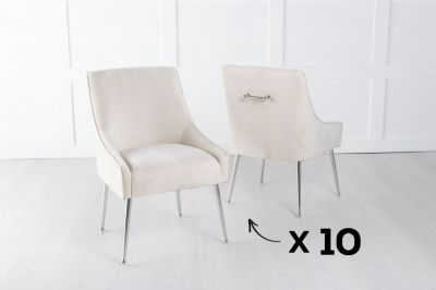 Set of 10 Giovanni Soft Champagne Velvet Dining Chair with Back Handle / Chrome Legs