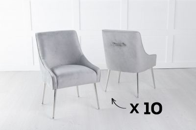 Set of 10 Giovanni Light Grey Velvet Back Handle Dining Chair with Chrome Legs