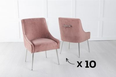 Set of 10 Giovanni Soft Pink Velvet Dining Chair with Back Handle / Chrome Legs
