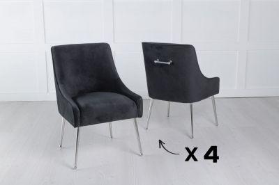 Set of 4 Giovanni Soft Black Velvet Dining Chair with Back Handle / Chrome Legs