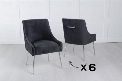 Set of 6 Giovanni Soft Black Velvet Dining Chair with Back Handle / Chrome Legs