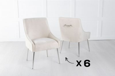 Set of 6 Giovanni Soft Champagne Velvet Dining Chair with Back Handle / Chrome Legs