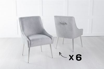 Set of 6 Giovanni Light Grey Velvet Back Handle Dining Chair with Chrome Legs