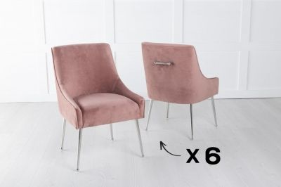 Set of 6 Giovanni Soft Pink Velvet Dining Chair with Back Handle / Chrome Legs