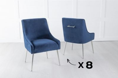 Set of 8 Giovanni Soft Blue Velvet Dining Chair with Back Handle / Chrome Legs