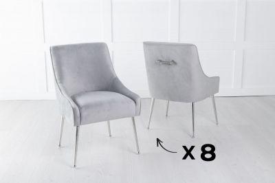 Set of 8 Giovanni Soft Light Grey Velvet Dining Chair with Back Handle / Chrome Legs