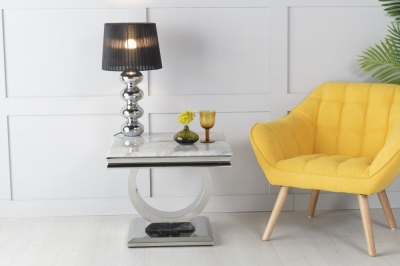 Urban Deco Glacier Grey Marble and Chrome Side Table