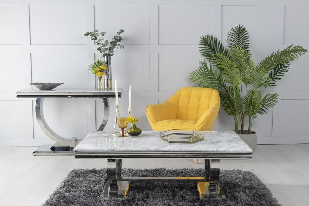 Urban Deco Glacier Grey Marble and Chrome Coffee Table