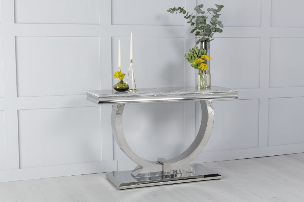Urban Deco Glacier Grey Marble and Chrome Console Table