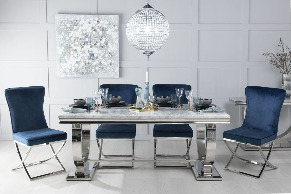 Urban Deco Glacier 200cm Grey Marble and Chrome Dining Table with 6 Lyon Blue Chairs