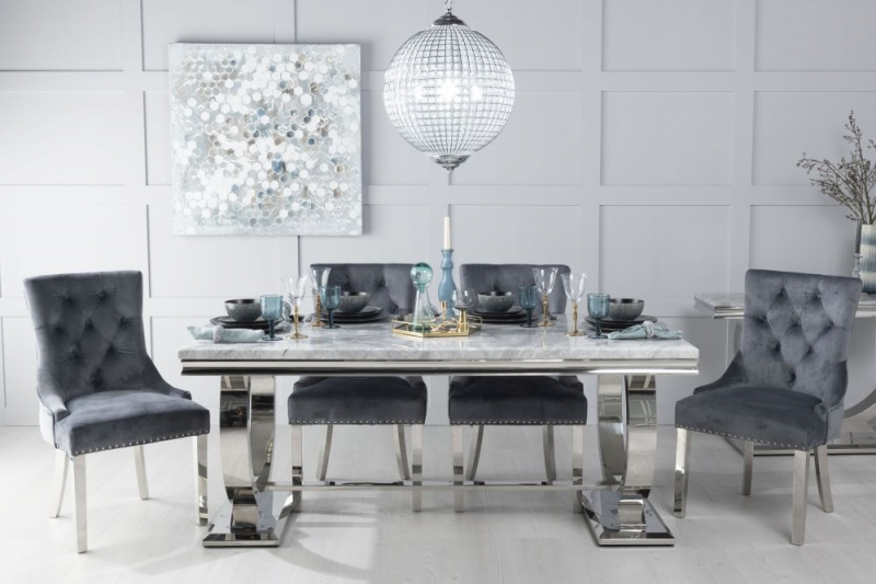 Urban Deco Glacier 200cm Grey Marble and Chrome Dining Table with 6 Grey Knockerback Chrome Leg Chairs