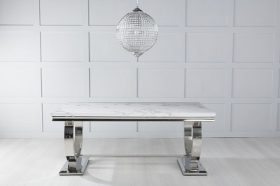 Urban Deco Glacier 180cm White Marble and Chrome Dining Table