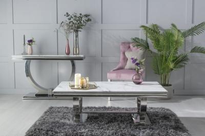 Urban Deco Glacier White Marble and Chrome Coffee Table