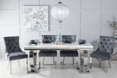 Urban Deco Glacier 180cm White Marble and Chrome Dining Table with 6 Grey Knockerback Chrome Leg Chairs