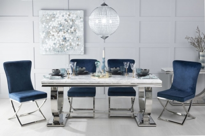 Urban Deco Glacier 180cm White Marble and Chrome Dining Table with 6 Lyon Blue Chairs