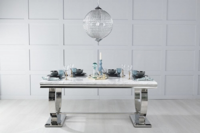 Urban Deco Glacier 200cm White Marble and Chrome Dining Table