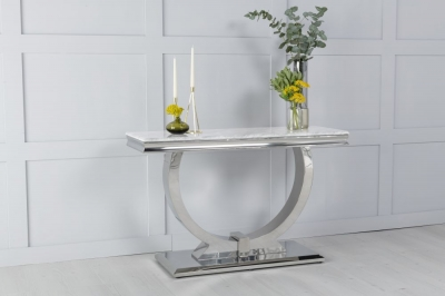 Urban Deco Glacier White Marble and Chrome Console Table