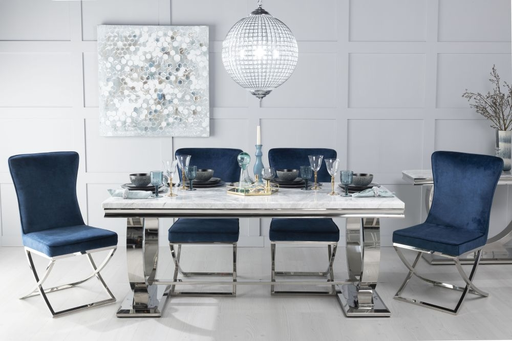 Urban Deco Glacier 200cm White Marble and Chrome Dining Table with 6 Lyon Blue Chairs