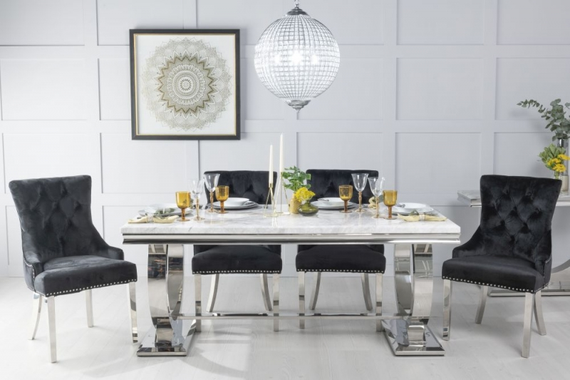 Urban Deco Glacier 200cm White Marble and Chrome Dining Table with 6 Black Knockerback Chrome Leg Chairs