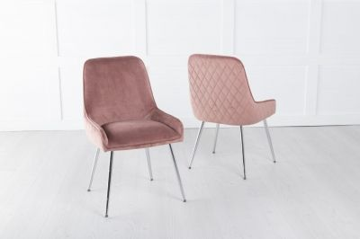 Hamilton Pink Velvet Back Quilted Dining Chair with Chrome Legs