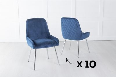 Set of 10 Hamilton Blue Velvet Back Quilted Dining Chair with Chrome Legs
