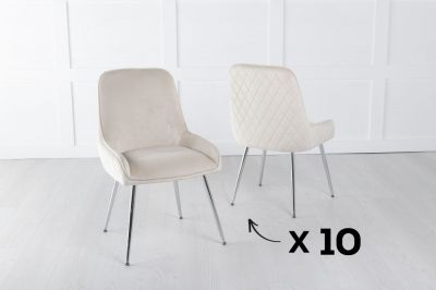 Set of 10 Hamilton Champagne Velvet Back Quilted Dining Chair with Chrome Legs