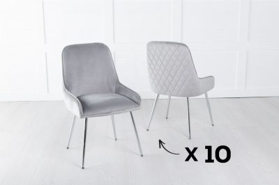 Set of 10 Hamilton Light Grey Velvet Back Quilted Dining Chair with Chrome Legs