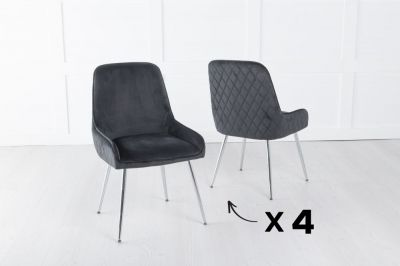 Set of 4 Hamilton Black Velvet Back Quilted Dining Chair with Chrome Legs