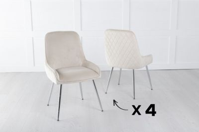 Set of 4 Hamilton Champagne Velvet Back Quilted Dining Chair with Chrome Legs