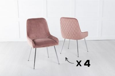 Set of 4 Hamilton Pink Velvet Back Quilted Dining Chair with Chrome Legs