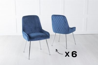 Set of 6 Hamilton Blue Velvet Back Quilted Dining Chair with Chrome Legs