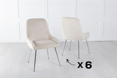 Set of 6 Hamilton Champagne Velvet Back Quilted Dining Chair with Chrome Legs