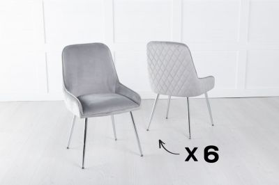 Set of 6 Hamilton Light Grey Velvet Back Quilted Dining Chair with Chrome Legs