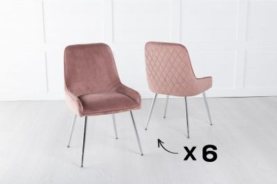 Set of 6 Hamilton Pink Velvet Back Quilted Dining Chair with Chrome Legs