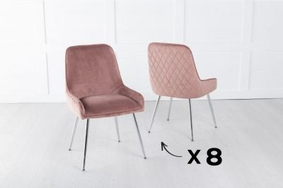 Set of 8 Hamilton Pink Velvet Back Quilted Dining Chair with Chrome Legs