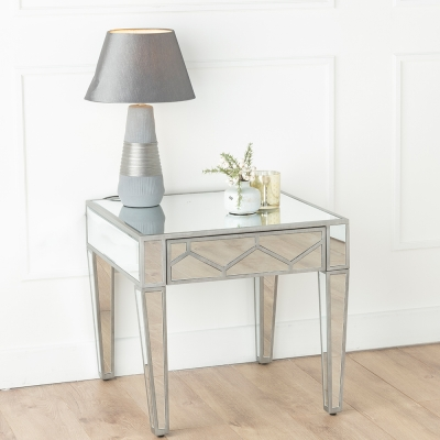 Urban Deco Honeycomb Mirrored Side Table