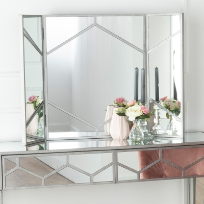 Urban Deco Honeycomb Triple Vanity Mirror