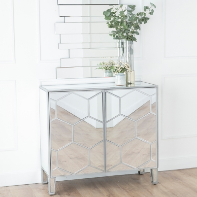 Urban Deco Honeycomb Mirrored Small Sideboard