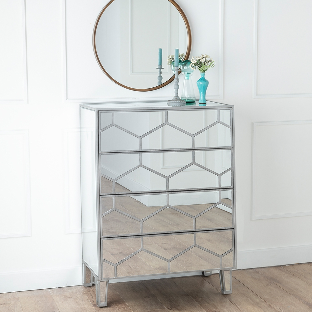 Urban Deco Honeycomb Mirrored 4 Drawer Chest