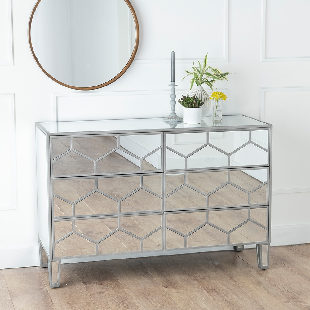 Urban Deco Honeycomb Mirrored 6 Drawer Wide Chest
