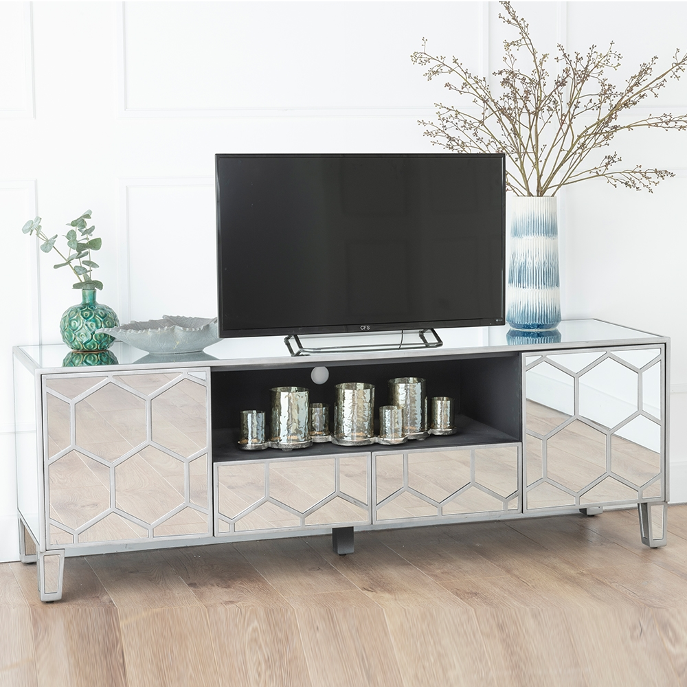 Urban Deco Honeycomb Mirrored TV Unit