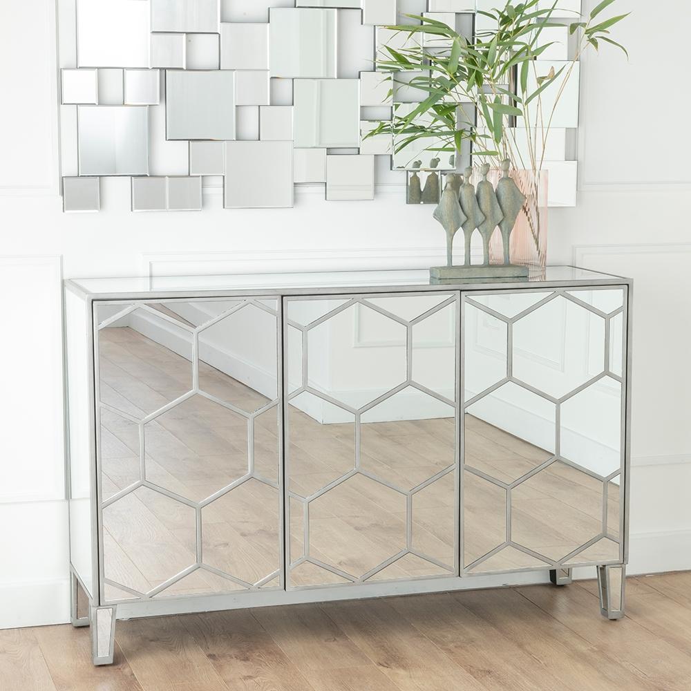Urban Deco Honeycomb Mirrored Large Sideboard