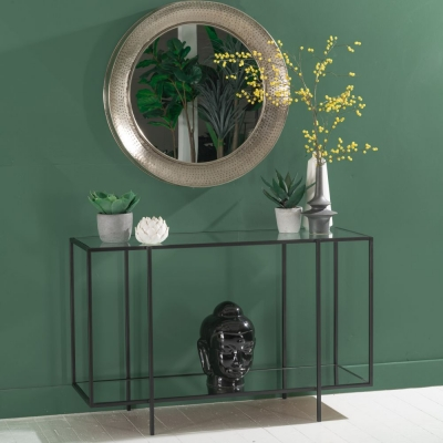 Hyde Black Metal Console Table - Glass Top
