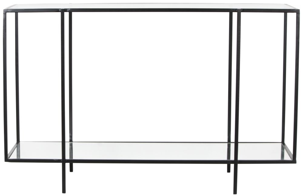 Hyde Square Black Metal Console Table