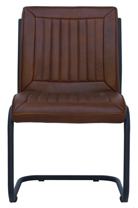 Industrial Style Genuine Leather Dining Chairs - Vintage Brown