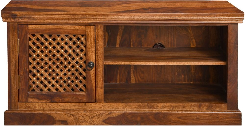 Urban Deco Wood Jali Sheesham 1 Door TV Unit