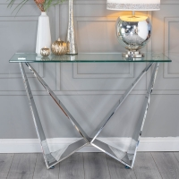 Urban Deco Jazz Console Table - Glass and Stainless Steel