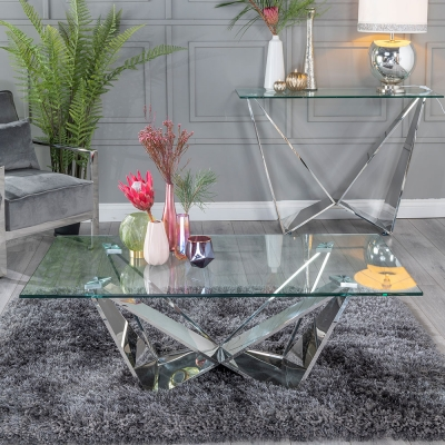 Urban Deco Jazz Glass and Chrome Coffee Table