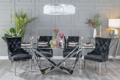 Buy Urban Deco Jazz 200cm Glass and Chrome Dining Table with 4 Black Knockerback Chrome Leg Chairs and Get 2 Extra Chairs Worth £358 For FREE